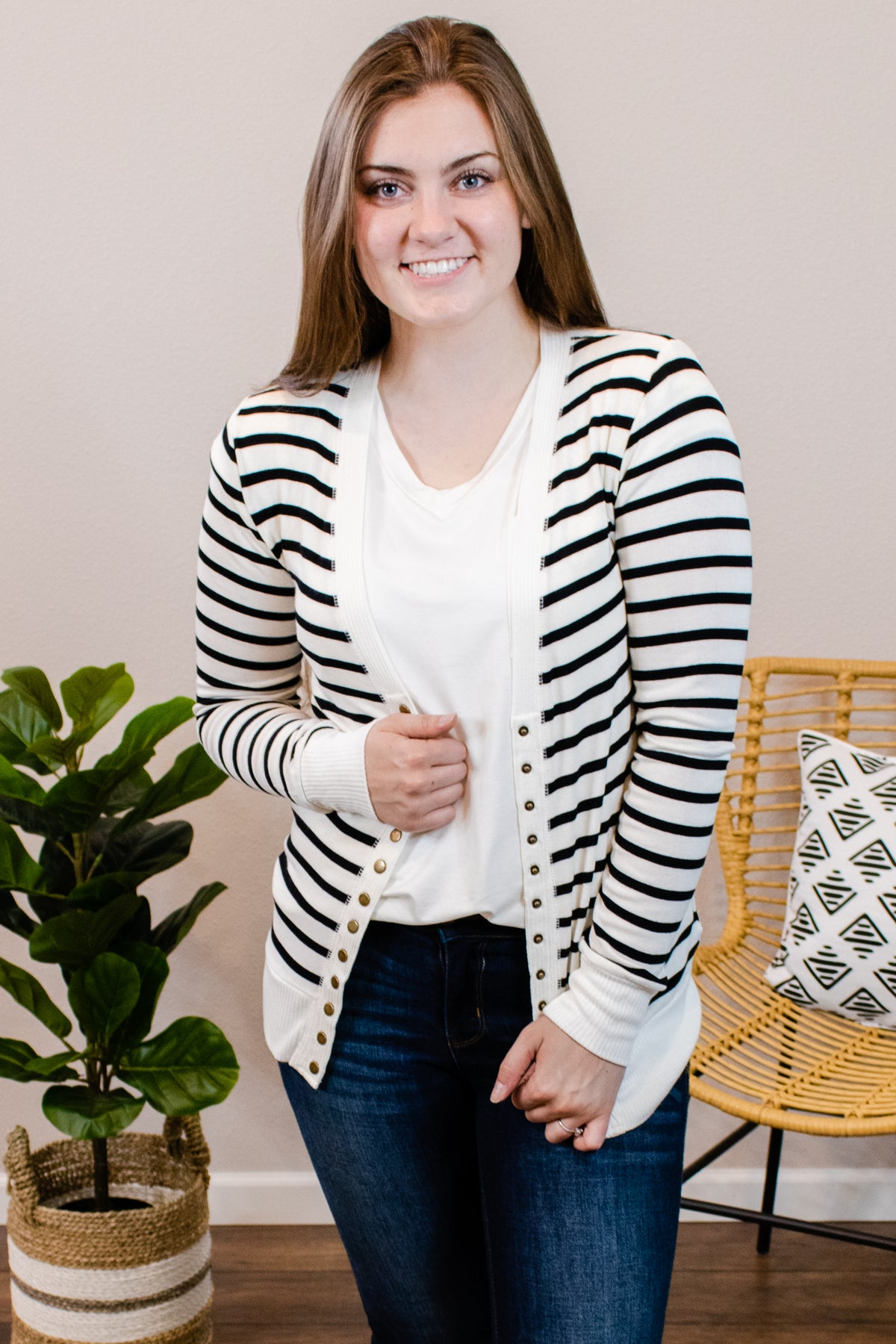 Stacey Striped Ivory Snap Cardigan - Onyx & Oak Boutique