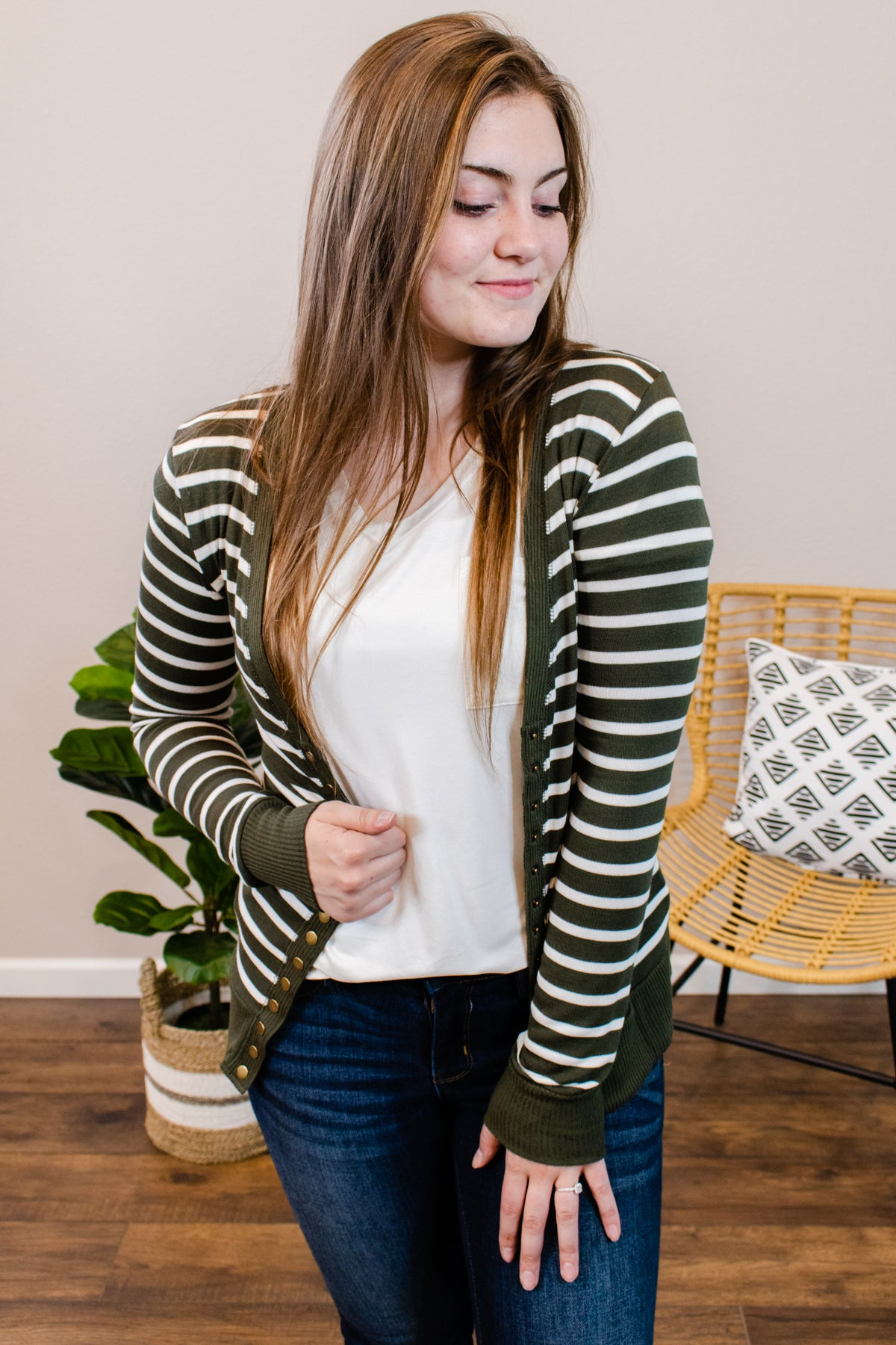 Stacey Striped Dark Olive Cardigan - Onyx & Oak Boutique