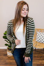 Load image into Gallery viewer, Stacey Striped Dark Olive Cardigan - Onyx & Oak Boutique