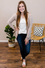 Load image into Gallery viewer, Stacey Striped Mocha Snap Cardigan - Onyx & Oak Boutique