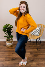 Load image into Gallery viewer, Jump into Fall Mustard Waffle Knit Sweater - Onyx & Oak Boutique