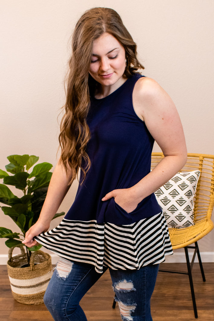 Stripe Up Your Life Navy Tank - Onyx & Oak Boutique