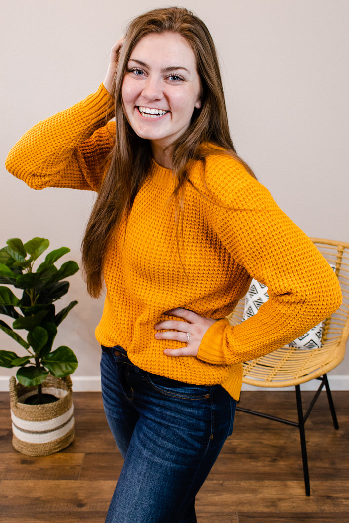 Jump into Fall Mustard Waffle Knit Sweater - Onyx & Oak Boutique