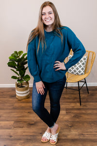 Stand Your Ground Teal Sweater - Onyx & Oak Boutique