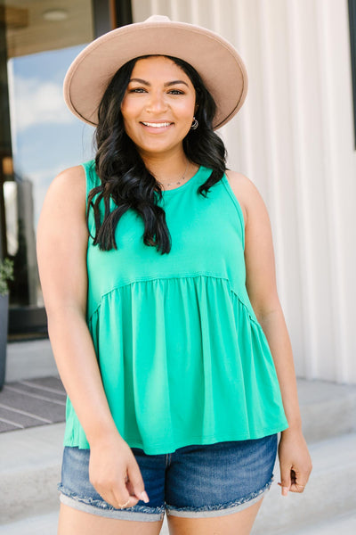 Basic Babydoll Tank In Kelly Green - Onyx & Oak Boutique