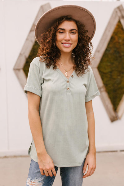 Buttons and Henley Top in Sea Salt - Onyx & Oak Boutique