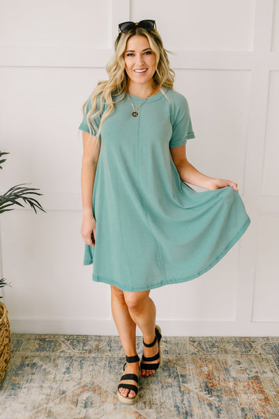 Best Of The Basic Tee Shirt Dress in Mint - Onyx & Oak Boutique