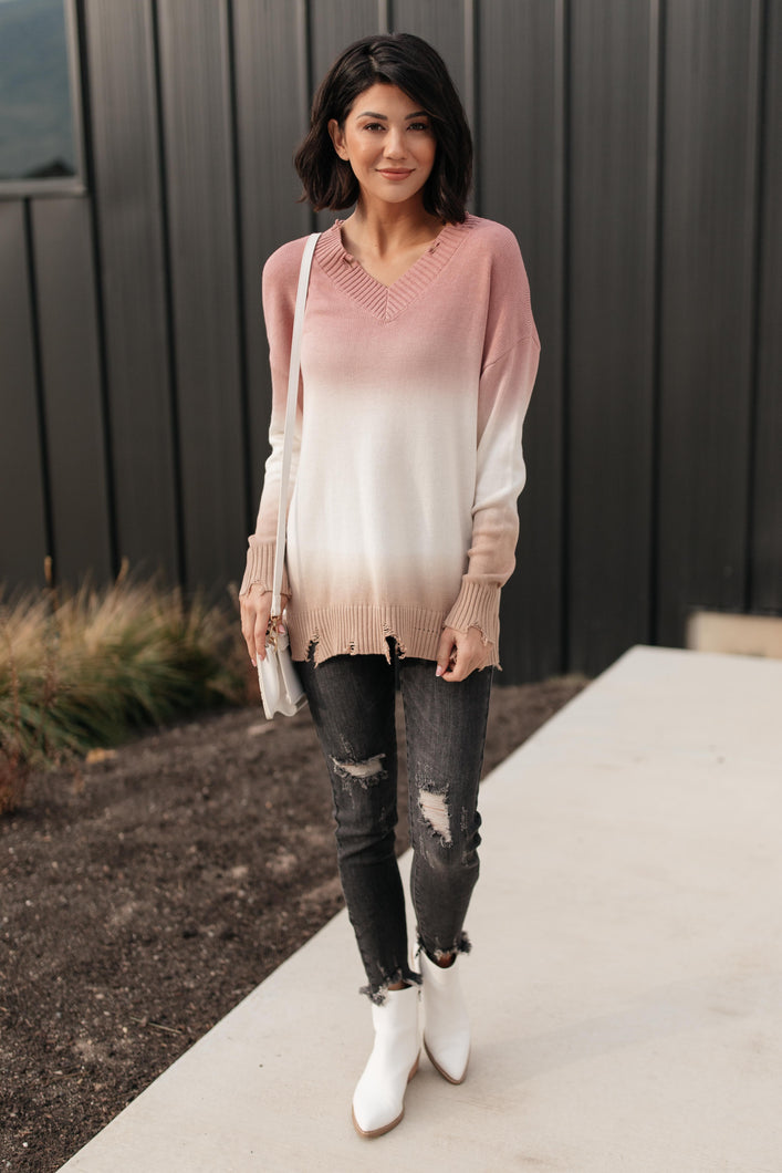 Color Melt Sweater in Mauve - Onyx & Oak Boutique