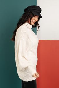 Cream Colored Classic Knit Sweater - Onyx & Oak Boutique