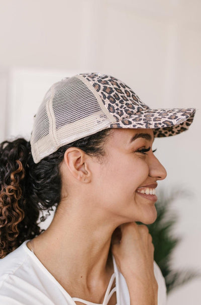 Criss Cross Ponytail Baseball Cap in Cheetah - Onyx & Oak Boutique