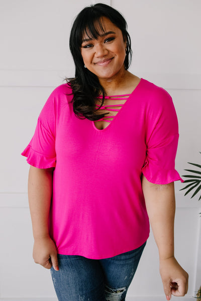 Crossing Wires Top in Fuchsia - Onyx & Oak Boutique