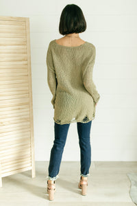 Distressed and Proud Sweater in Moss - Onyx & Oak Boutique
