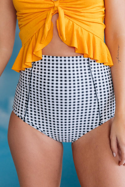 Dressed Up in Gingham Swim Bottoms - Onyx & Oak Boutique