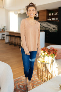 Every Girl's Favorite Basic Top in Apricot - Onyx & Oak Boutique