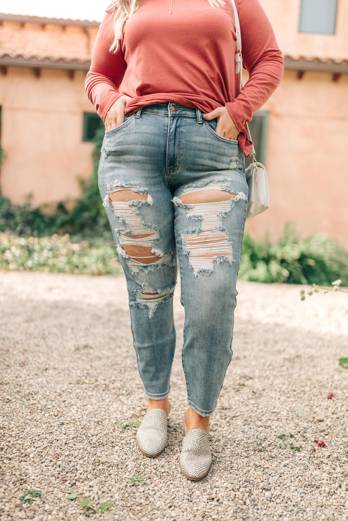 Judy Blue Destroyed Boyfriend Jeans - Onyx & Oak Boutique