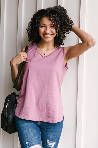 Jenna Basic Tank in Mauve - Onyx & Oak Boutique