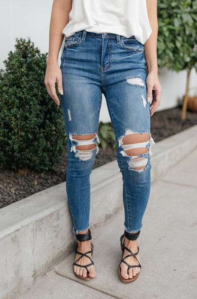 Just At The Knee Jeans - Onyx & Oak Boutique