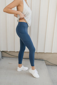 Kickin' It Leggings in Blue - Onyx & Oak Boutique