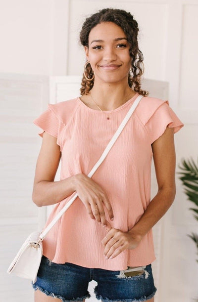 Light and Linen Top in Coral - Onyx & Oak Boutique