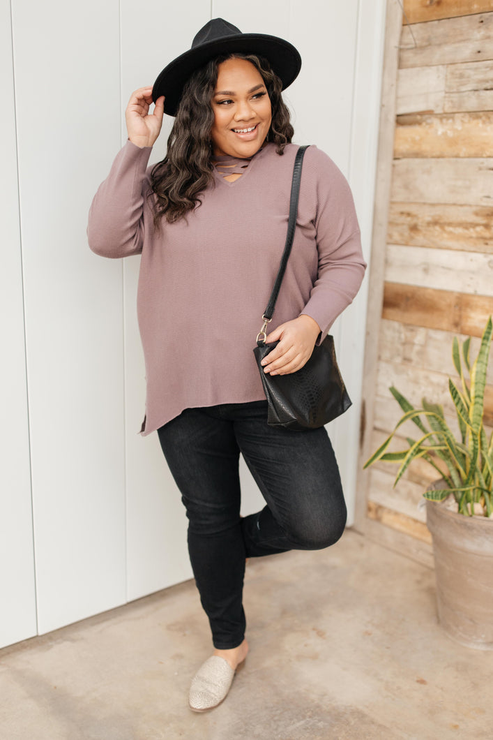 Oversized and Crossed Sweater - Onyx & Oak Boutique