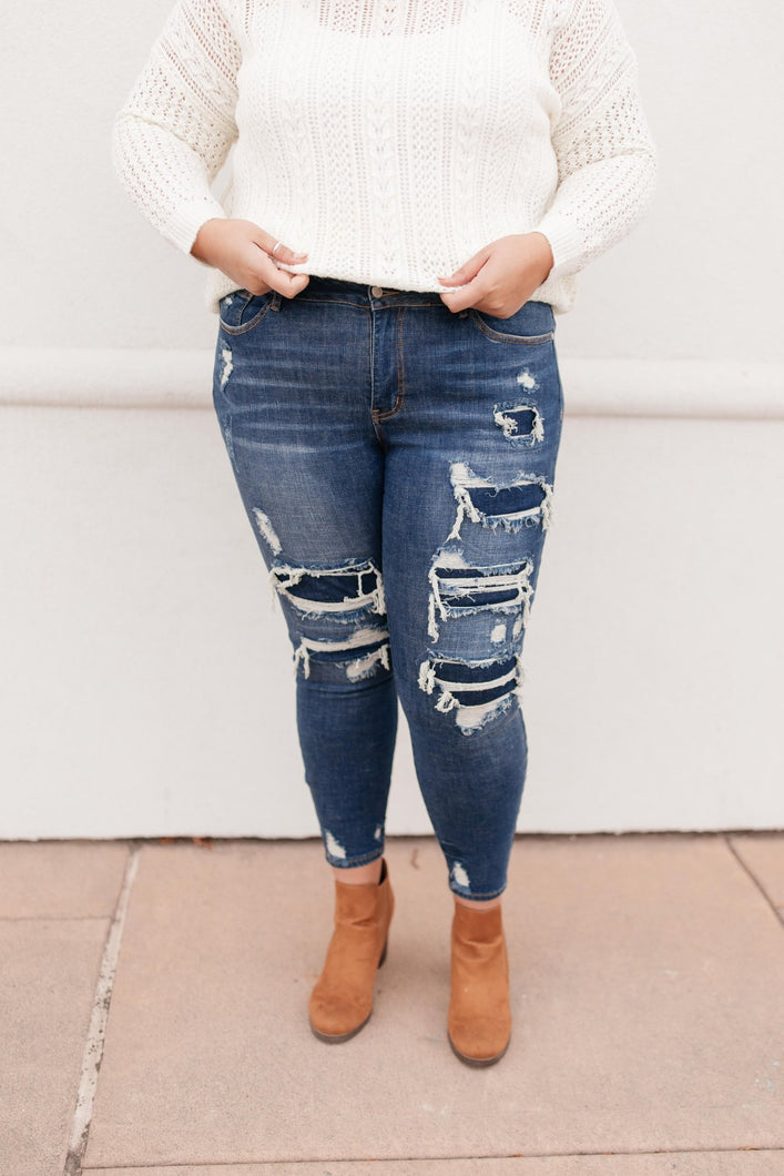 Judy Blue Destroyed Patch Jeans - Reagan Wash - Onyx & Oak Boutique