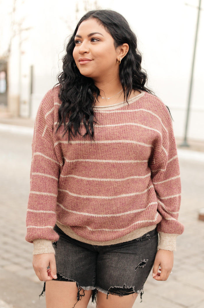 Ribbed and Striped Sweater in Mauve - Onyx & Oak Boutique