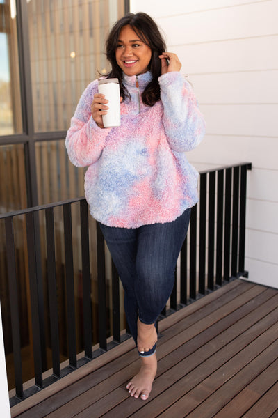 Shades and Sherpa Pullover in Cotton Candy - Onyx & Oak Boutique