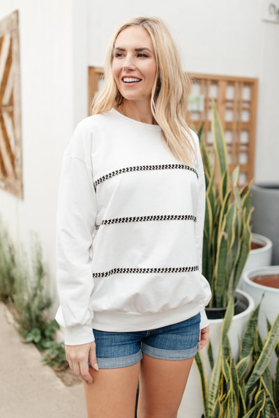 Stitched Together Pullover in White - Onyx & Oak Boutique