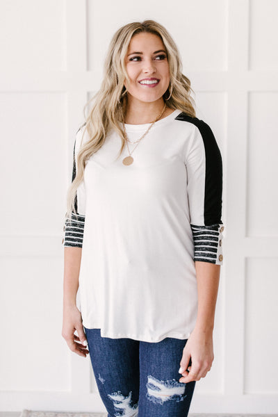 The Edge Of Stripes Top in White - Onyx & Oak Boutique