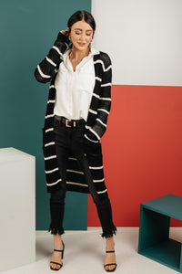 The Janessa Striped Cardigan - Onyx & Oak Boutique