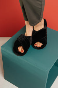 Toasty But Mostly Cozy Black Slippers - Onyx & Oak Boutique