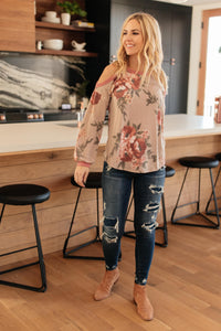 Waffle Meets Floral Top in Taupe - Onyx & Oak Boutique
