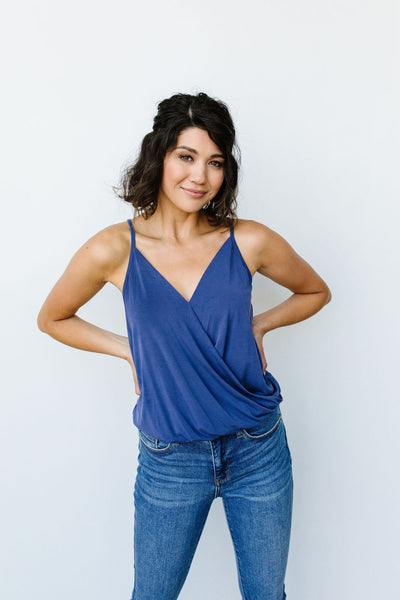 Charlize Surplice Tank In Blue - Onyx & Oak Boutique