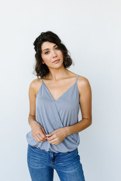 Charlize Surplice Tank In Flint - Onyx & Oak Boutique