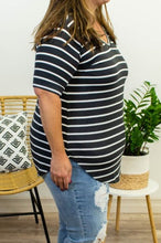 Load image into Gallery viewer, It's A Little Striped Grey Top - Onyx & Oak Boutique