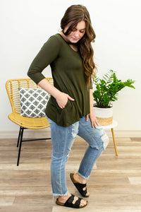 Amber Keyhole Top in Olive - Onyx & Oak Boutique