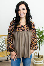 Load image into Gallery viewer, Taupe Grey Paisley BabyDoll Top - Onyx & Oak Boutique