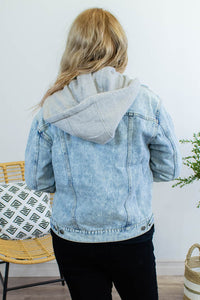 Hooded Acid Wash Denim Jacket - Onyx & Oak Boutique