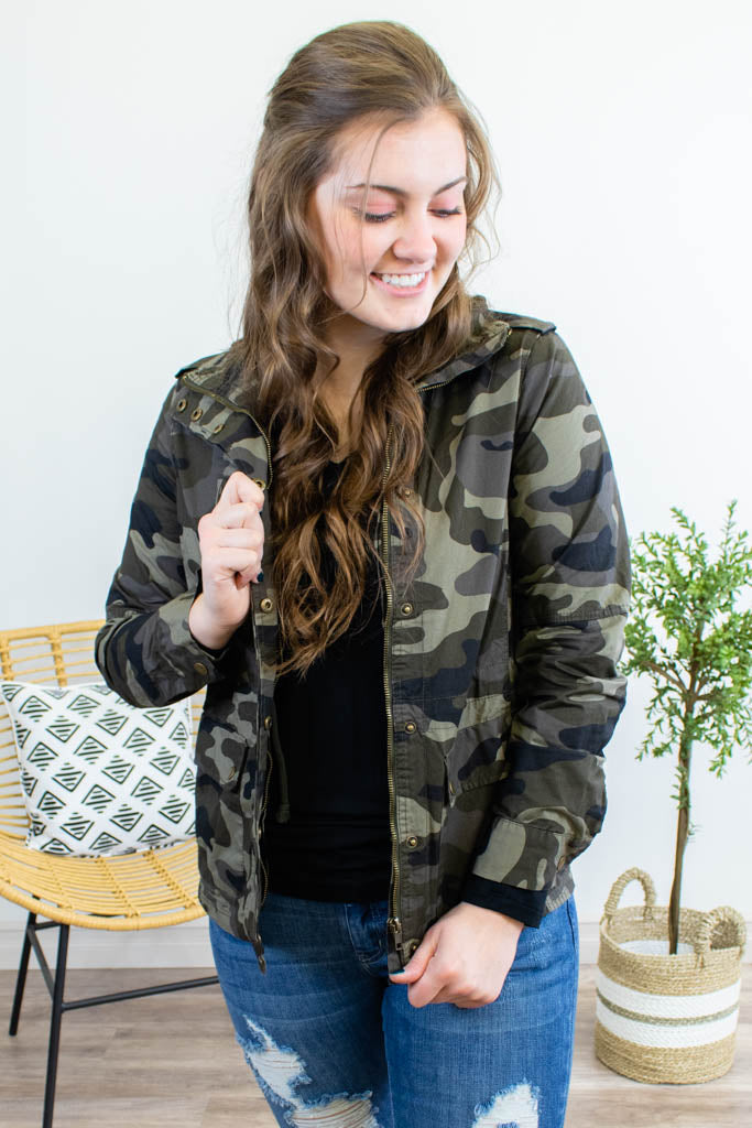 Camo Military Anorak Jacket - Onyx & Oak Boutique