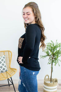 Another Fall Fave Leopard Pocket Longsleeve Top - Onyx & Oak Boutique