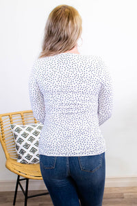Isabella Polka Dot Long Sleeve Top - Onyx & Oak Boutique