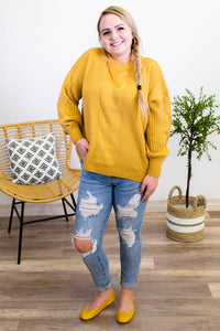 Stand Your Ground Mustard Sweater - Onyx & Oak Boutique