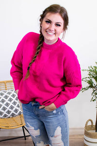 Stand Your Ground Hot Pink Sweater - Onyx & Oak Boutique
