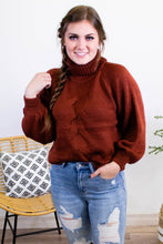Load image into Gallery viewer, Dark Rust Turtleneck Cable Knit Sweater - Onyx & Oak Boutique