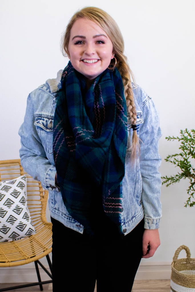 By the Fireplace Plaid Scarf - Onyx & Oak Boutique