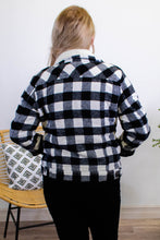 Load image into Gallery viewer, Campfire Buffalo Plaid Trucker Jacket in Black - Onyx & Oak Boutique