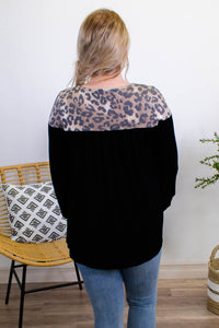 Be Fierce Leopard Contrast Top - Onyx & Oak Boutique