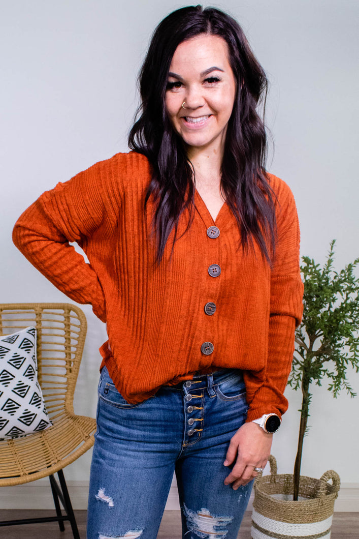 Raw Hem Button Down Cardigan in Rust - Onyx & Oak Boutique