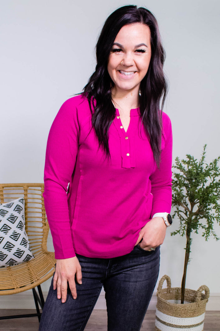 Keep it up Buttercup Henley in Magenta - Onyx & Oak Boutique