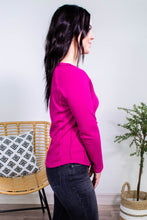 Load image into Gallery viewer, Keep it up Buttercup Henley in Magenta - Onyx & Oak Boutique